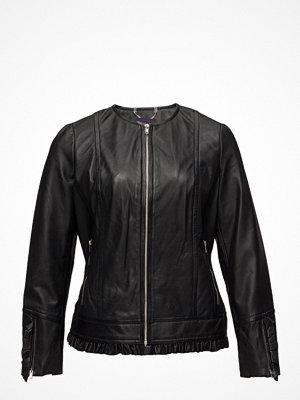 Violeta by Mango Ruffled Leather Jacket