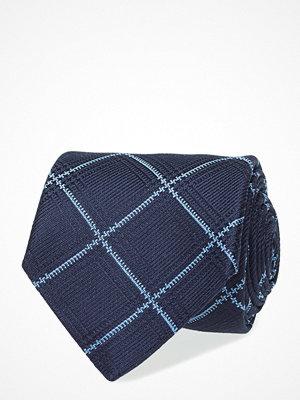 Slipsar - Eton Navy Check Woven Silk Tie