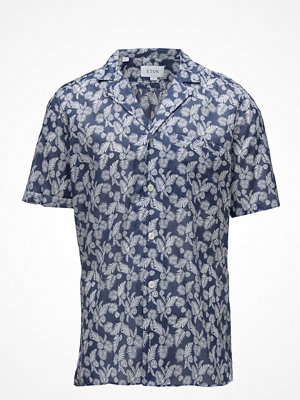 Eton Navy Palm Print Resort Shirt