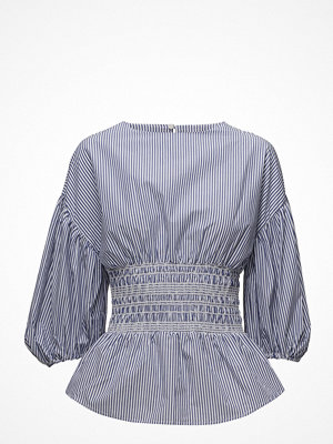 Mango Ruched Detail Striped Blouse