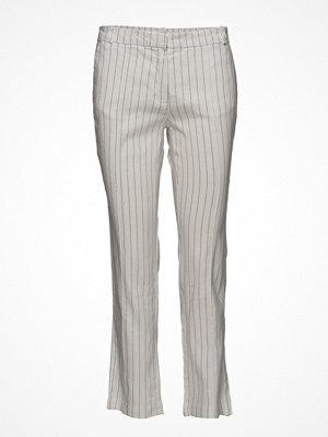 Mango ljusgrå randiga byxor Striped Linen-Blend Trousers