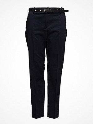 Violeta by Mango svarta byxor Belt Cotton-Blend Trousers