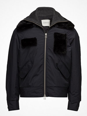Dunjackor - Tonsure Bomber With Detachable Fur Collar And Patches