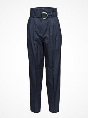 Mango marinblå byxor Paper Bag Trousers