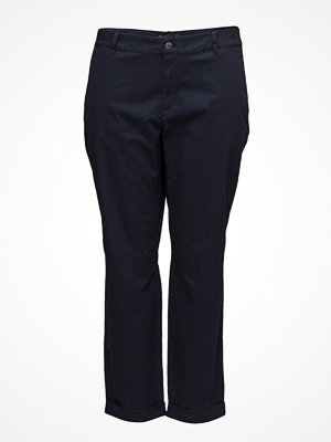 Violeta by Mango marinblå byxor Cotton Crop Trousers