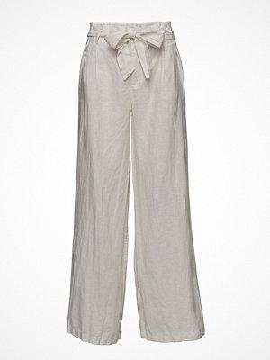 Mango vita byxor Linen High-Waist Trousers
