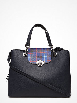 Tommy Hilfiger svart shopper med tryck Effortless Novelty Satchel Print