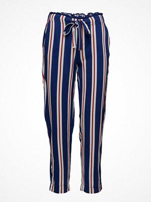 Mango marinblå randiga byxor Drawstring Flowy Trousers