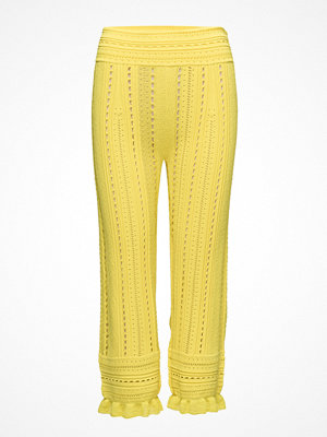 3.1 Phillip Lim gula mönstrade byxor Compact Pointelle Lace Pants