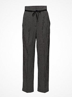Mango mörkgrå byxor Check Pleated Trousers