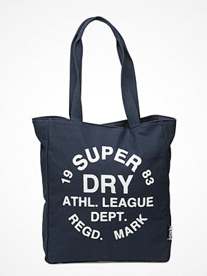 Superdry marinblå shopper med tryck Ath League Tote