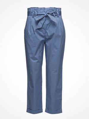 Mango blå byxor Paper Bag Trousers