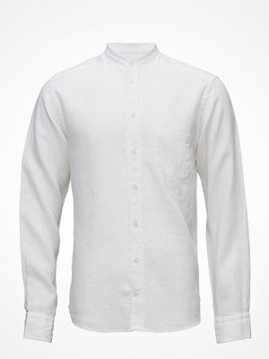 Eton White Linen Mao Collar Shirt