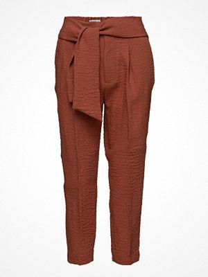 Mango mörkröda byxor Bow Belt Trousers