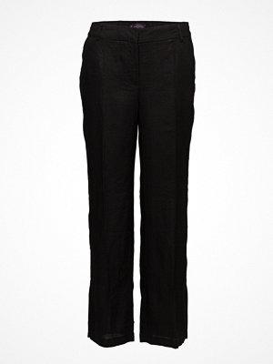 Violeta by Mango svarta byxor Side Slit Linen-Blend Trousers