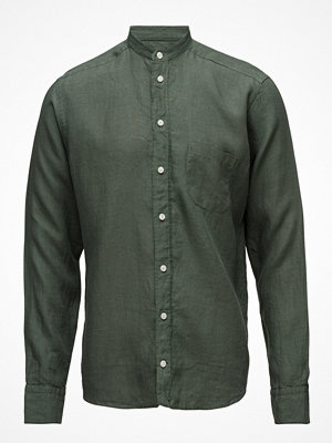 Eton Green Linen Mao Collar Shirt