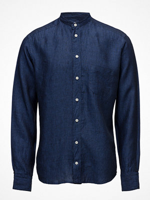 Eton Navy Linen Mao Collar Shirt