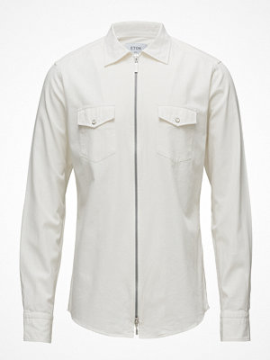 Eton White Twill Zipper Shirt