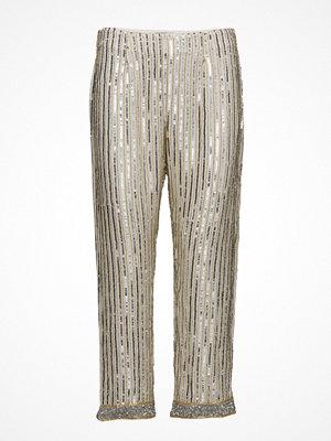 Ganni ljusgrå randiga byxor Temple Pants