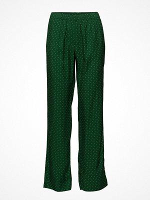 Samsøe & Samsøe mörkgröna byxor med tryck Hoys Straight Pants Aop 9710