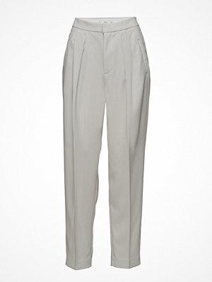 Mango ljusgrå byxor Pleat Detail Trousers