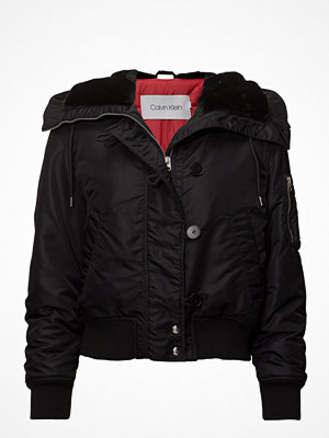 Dunjackor - Calvin Klein Hooded Faux Fur Jkt,