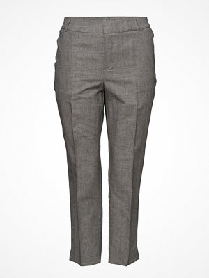 Violeta by Mango grå byxor Prince Of Wales Linen-Blend Trousers
