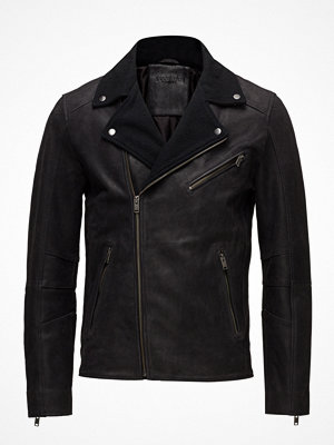 Skinnjackor - Selected Homme Slhray Leather/Wool Biker Jkt  W