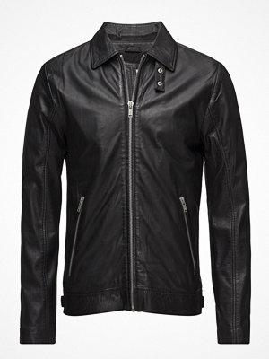 Skinnjackor - Lindbergh Leather Jacket W/ Zip Pockets