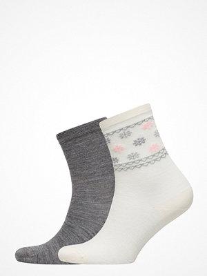 Strumpor - Vogue Ladies Anklesock, Wool Snowstar Socks, 2-Pack