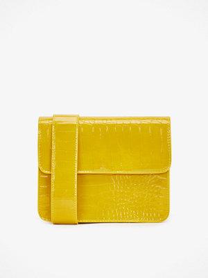 hvisk gul mönstrad axelväska Cayman Shiny handväska