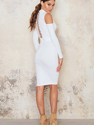 NaaNaa Midi Dress Cold Shoulder Lace Up Back