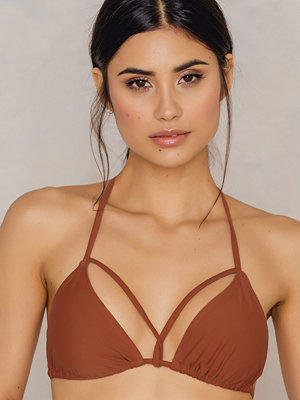 NA-KD Swimwear Triangle Strap Top brun röd