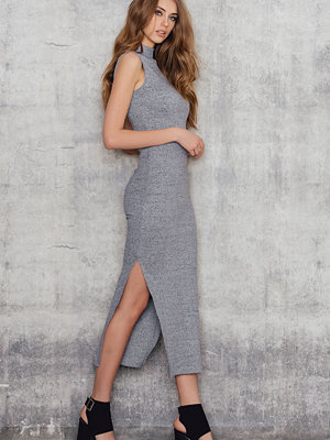 NA-KD Rib High Neck Midi Dress