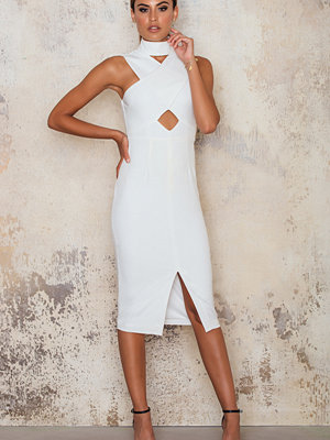 Lavish Alice High Neck Cut Out Detail Centre Split Midi Dress