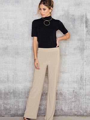 Sisters Point beige byxor Gro Pants brun