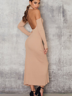 NA-KD Rib Cut Out Back Dress
