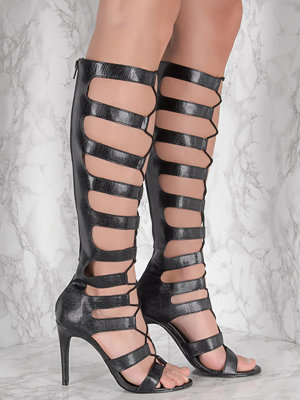 NA-KD Shoes Gladiator High Heels svart