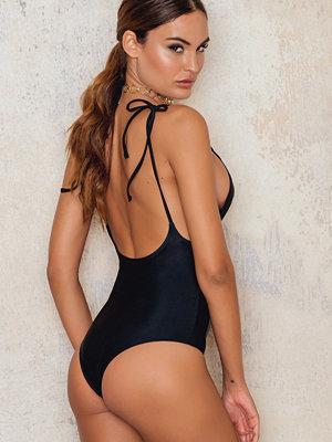 Baddräkter - NA-KD Swimwear Deep Back Tied Strap Swimsuit