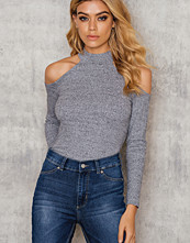 NA-KD Trend Cut Out Shoulder Rib Jersey Top