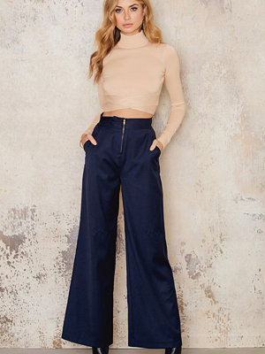 IMVEE marinblå byxor High Waist Front Zipper Pants