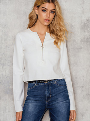 NA-KD Zipped Long Sleeve Top vit