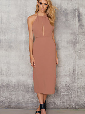 NA-KD Party Halterneck Cut Out Knee Dress brun rosa