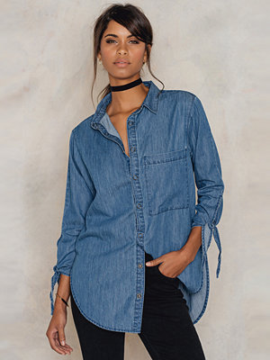 NA-KD Oversized Denim Knot Detail Shirt