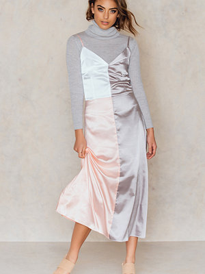 IMVEE Patchwork Silk Dress rosa multicolor / silver