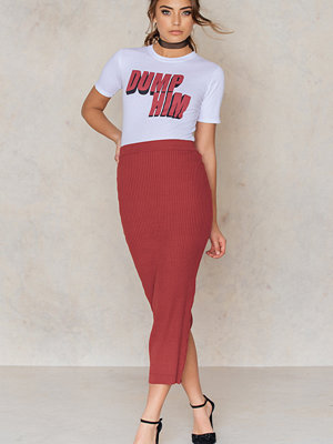 NA-KD Long Rib Knitted Slit Back Skirt