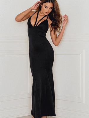 Rebecca Stella Strap Detail Scuba Maxi Dress svart