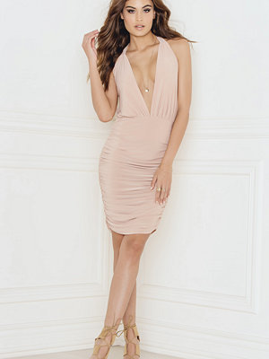 Rebecca Stella Halterneck Slinky Dress with Ruching Detail - Festklänningar
