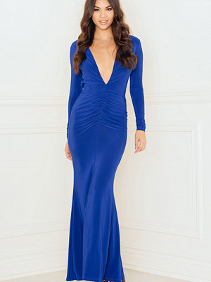 Rebecca Stella Deep V Ruched Maxi Dress with Open Back - Festklänningar