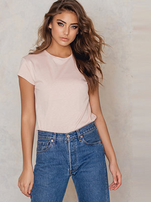 NA-KD Basic Raw Edge Tee rosa